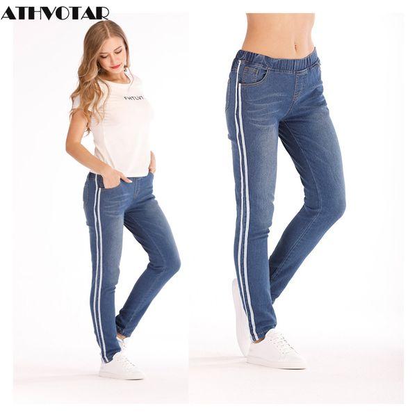 ATHVOTAR Jeans a vita media taglie forti Donna Moda Pantaloni skinny a matita skinny Jeans boyfriend jeans a righe laterali