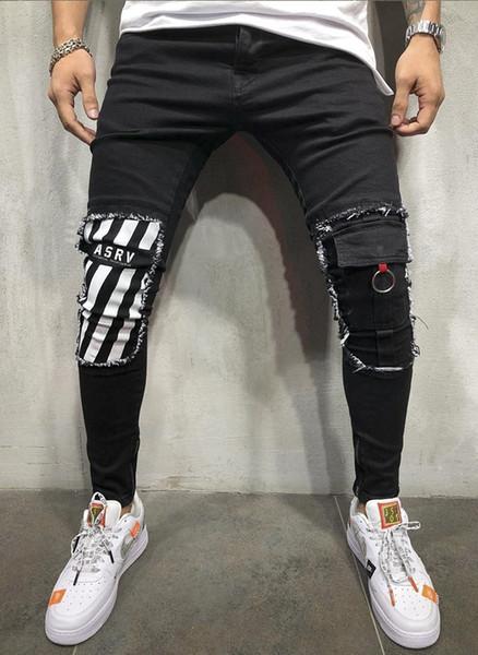 2019053109 Mens Cool Designer Marca Jeans Lápis Skinny Rasgado Destruído Trecho Slim Fit Hop Hop Calças Com Buracos Para Homens Jeans Impressos