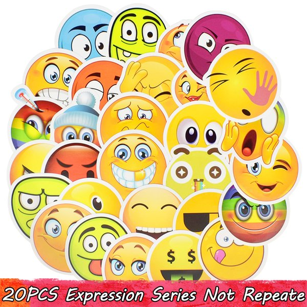 30 PCS Emoji Sticker Smiley Child Toys Anime Waterproof Home Decor Sticker DIY Wall Desk Scrapbook Book Suitcase Bicycle Creative Toy Gifts