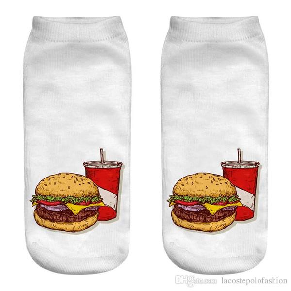 McDonalds Food Print Damen Socken Designer Hamburger Pommes Herren Socken Lässige Paar Passend Kurz Strumpfwaren