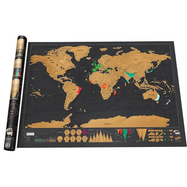Scratch off World Map Wall Sticker Erase Black World Map Best Decor Personalized Travel Scratch for Map Room Home Decor School Office