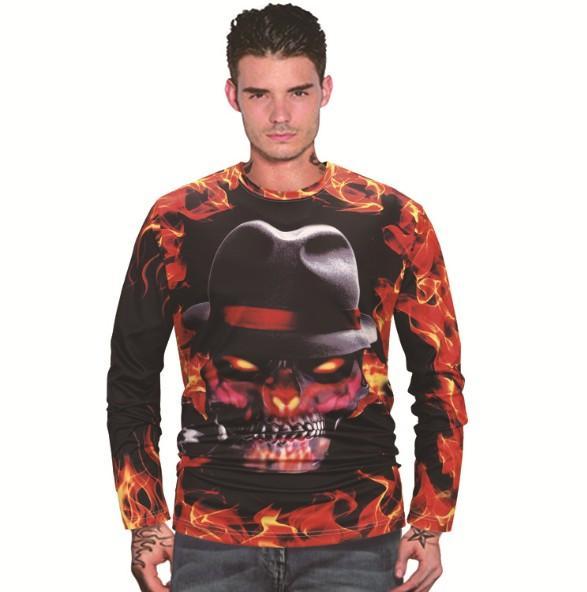Sıcak 3D dijital baskı Cadılar Bayramı erkek sonbahar ve kış T-shirt uzun kollu giysiler kafatası desen uzun T Ouma GZ