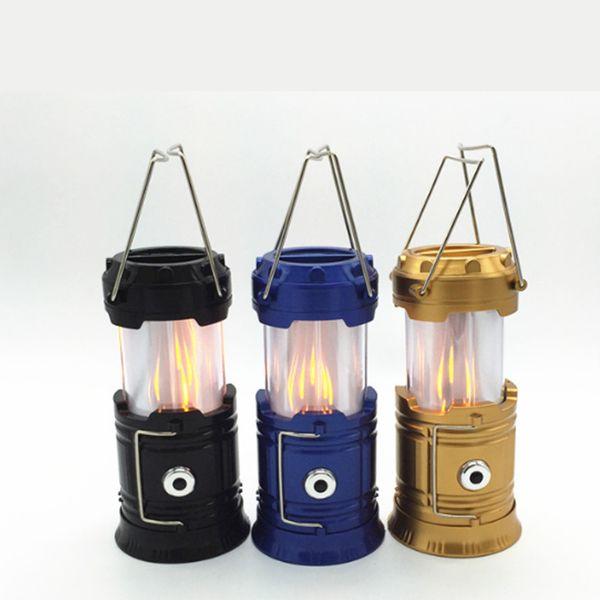 Bateria multifuncional direta da fábrica / carregamento solar LED chama de luz ao ar livre camping camping luz de emergência tenda lâmpada portátil lâmpada
