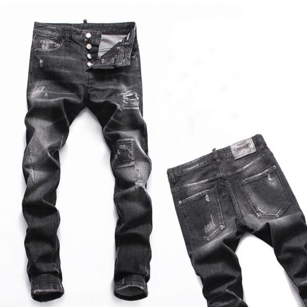 Acquista PHILIPP PLEIN DSQUARED2 DSQ2 D2 New 2019 Jeans Strappati Strappati Denim Nero Cotone Moda Stretto Primavera Autunno Pantaloni Da Uomo A8062 A