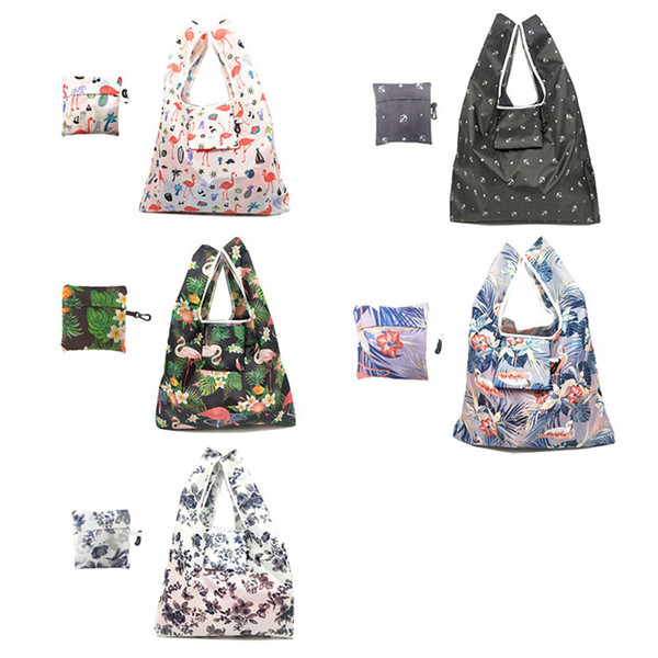 New Lady Foldable Recycle Shopping Bag Eco Reusable Shopping Tote Bag Cartoon Floral Fruit Vegetable Grocery No Zipper