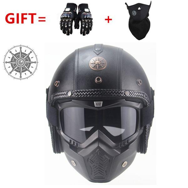 Бесплатная доставка PU кожаные шлемы 3/4 мотоцикл измельчитель велосипед шлем старинные мотоциклетный шлем с очками маска