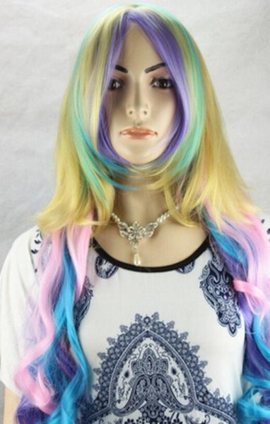 WIG free shipping New Womens Sexy Silvery Long Hair Color Mix Curly Full Wigs Lolita Cosplay Party Wig