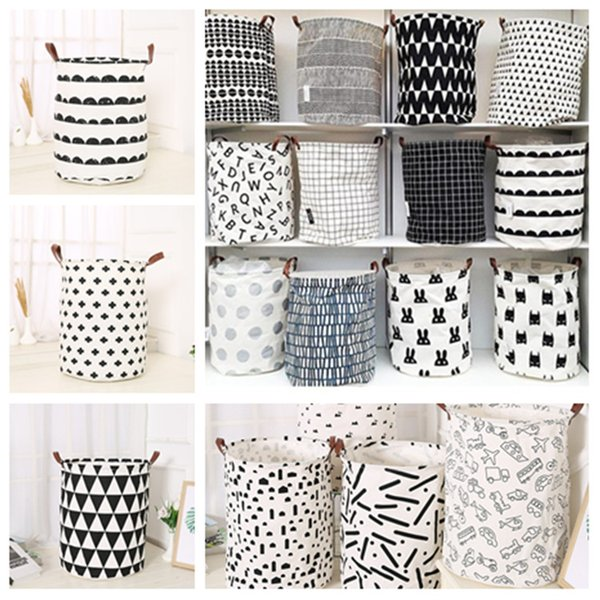 best selling fashion INS printing Laundry basket Toy storage basket cartoon Handbags Kids Toys Dirty clothes basket 40*50cm T2I5346