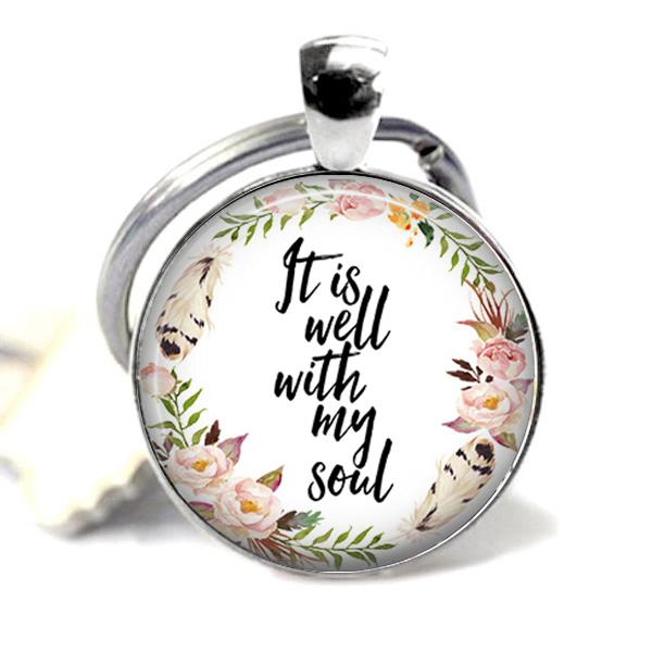 Style7180 Customized Photo Keychain, Crystal Glass Dome Keyring Metal Tray Pendant Keychain, Fashion Jewelry Accessories Gift Key Ornaments