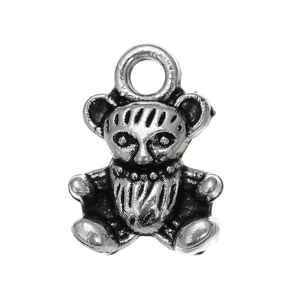 lemegeton Fishhook Wholesale Teddy Bear Shaped Animal Charms for Bracelet Necklace Key Jewelry Making 30pcs Wholesale