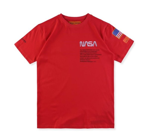 Fashion-New York High Quality Heron Preston Nasa USA Flag Embroidery Men Women Street Luxury Cotton Hoody Casual Short Sleeve T-Shirt