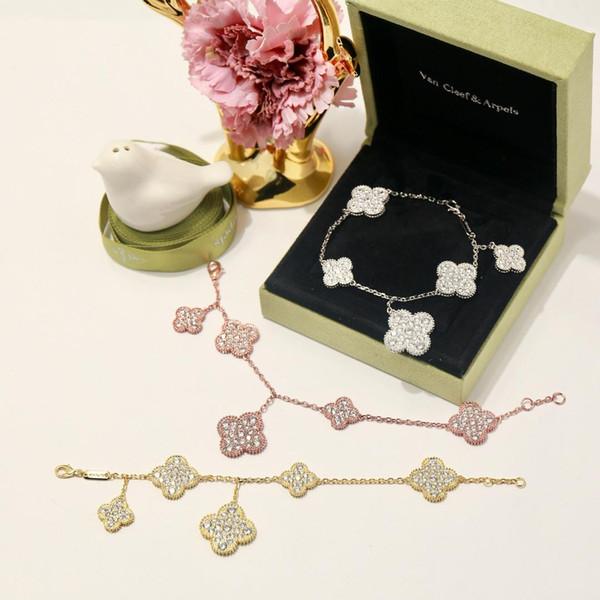 Moda dört yapraklı yonca Gümüş boyutu 5 çiçek bilezik kadınlar için Severler Günü hediyesi kadınlar için klasik tasarımcı marka takı