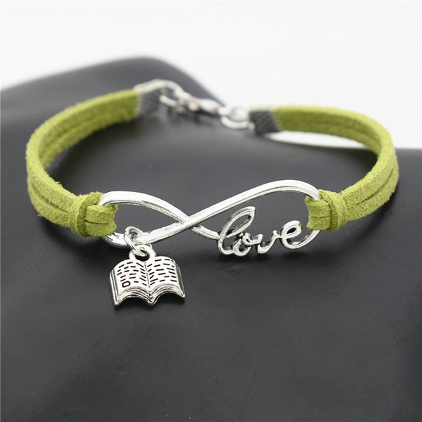 New Hot European Fashion Green Leather Rope Cuff Jewelry Infinity Love Open Book Bracelet & Bangles For Men Women gift Special Sale pulseras