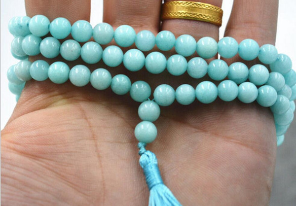 necklace Free shipping ++++Jewelry 6mm stone Buddhist Amazon 108 Prayer Beads Mala Bracelet Necklace
