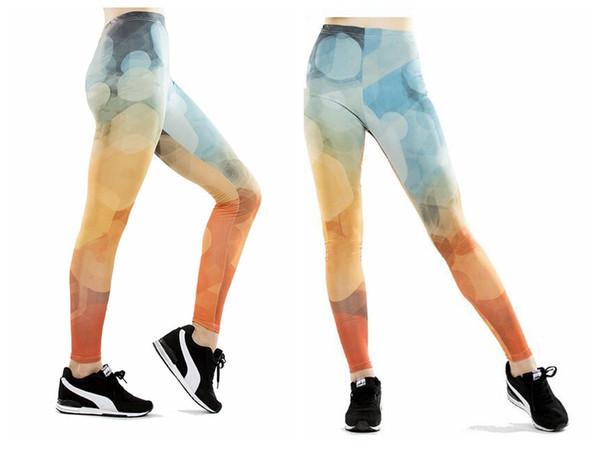 Mulheres yoga calças calças justas calças femininas de cintura alta dança ativa senhora calças lápis abstrato dot digital leggings skinny silm motion
