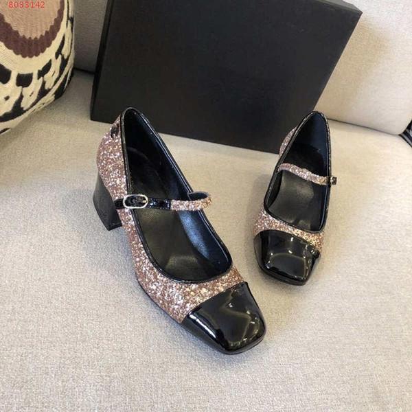 Primavera novo single sapatos, lantejoulas elegantes e confortáveis, grossas com uma fivela, sapatos de princesa sapatos de couro confortáveis mulheres