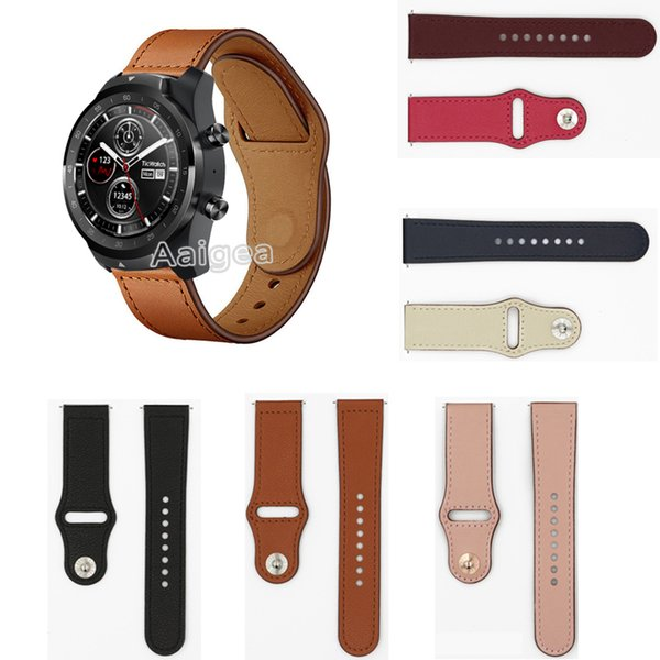 22mm Fashion Leather Watch Band Strap for Ticwatch Pro Smart Watch Replacement New Wrist band strap Unisex Bracelet for ticwatch