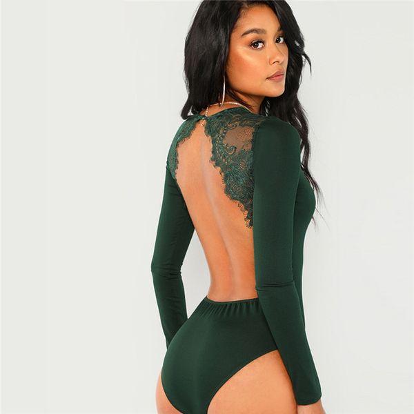 43b314f0aa Green Solid Backless Long Sleeve Sexy Lace Bodysuit Women Autumn Elegant  Female Office Basic Skinny Bodysuits