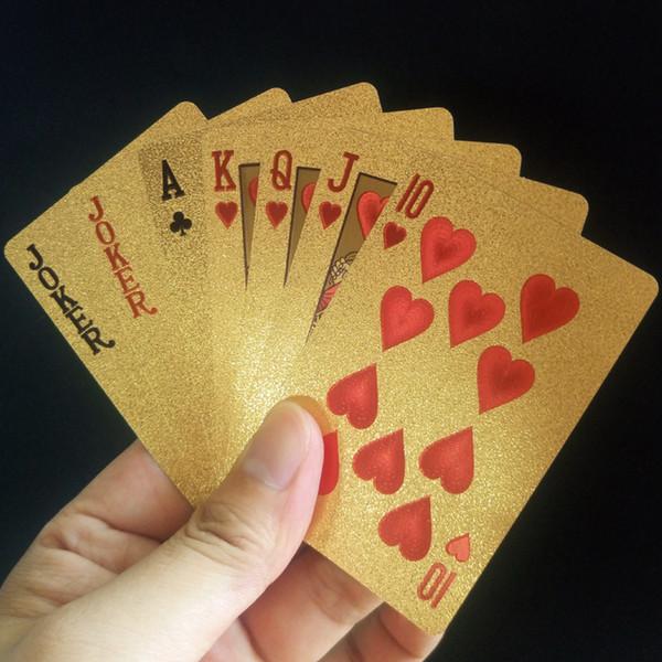 24 K Folha De Ouro Plástico Jogando Cartas De Poker Jogo De Convés Da Folha De Ouro De Poker Conjunto de Cartão Mágico Cartões À Prova D 'Água Magia