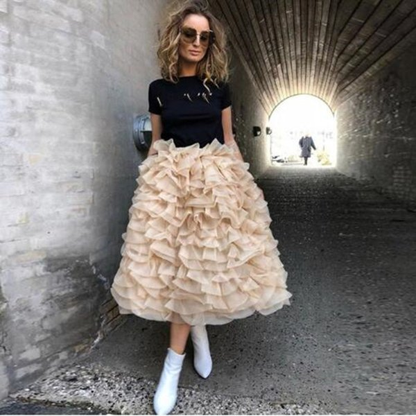 New Fashion long Ivory Tutu Skirt Tiered Ruffle Organza Womens Tutu Vintage Long Puffy Gonne Custom Made Gonna Plus Size