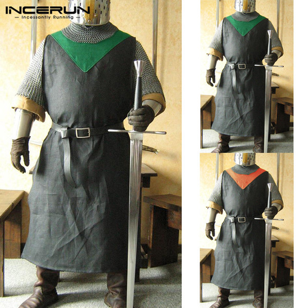 Vintage Men Dress Shirt Sleeveless Cosplay Costumes Medieval Knight Warrior Surcoat Vikings Tabard Robe Stage Men Shirt Camisa