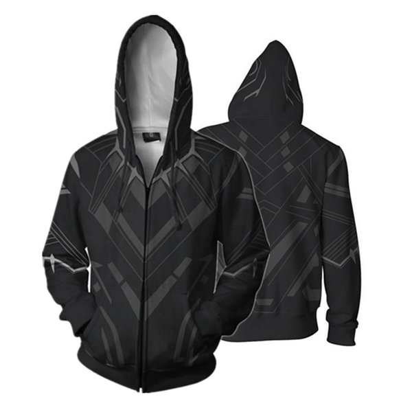 : Infinity War Black Panther Hoodies mit durchgehendem Reißverschluss Cooler Pullover Dünner Mantel Jacke Unisex Jumper Sweatshirt Cosplay