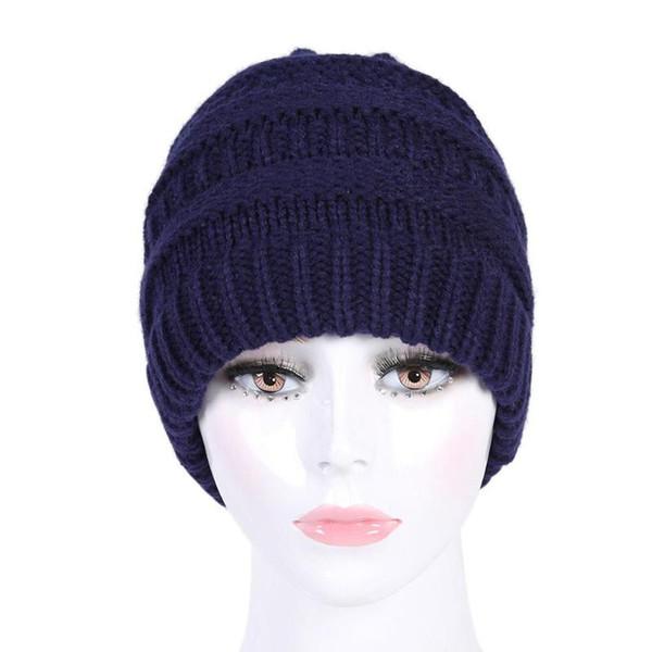 Mulheres Inverno Quente Chapéus Gorros Casuais Cor Sólida Gorros Chapelaria Moda Crochê Chapéu De Tricô Macio Alta Elástica Quente Caps