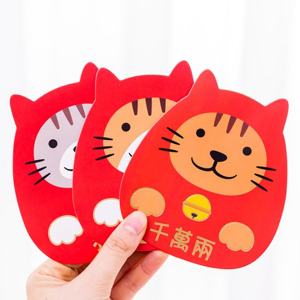 2019 Cartoon Luck Cat red pocket chinese new Year money packet spring festival Zodiac Red envelope party creative gift bag