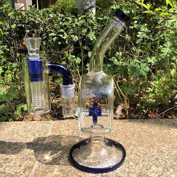 Bongo de vidro Conjunto de Tubulações de Água Heady Dab Rigs de Vidro com 18mm Cinza Apanhador de 90 Graus Dab Rig Perolator Bong Rig Bubblers