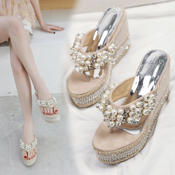 elegant comfort straw slippers sweet outside wearing wedges beach shoes wild pearl rhinestones muffin thick bottom flip-flops