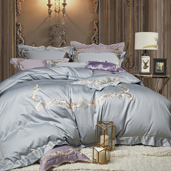 New 100% Egyptian Cotton White gray purple Luxury Bedding Sets/Bedclothes King Queen size Duvet Cover Bed Sheet Linens set Pillo