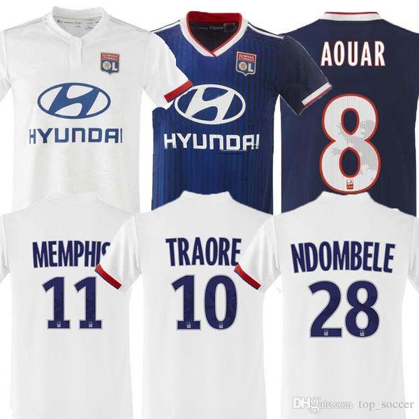 новый топ Таиланд Майо де фут Олимпик Лион футбол Джерси 2019 2020 Лион футбол рубашка Траоре Мемфис Фекир 19 20 комплект униформы