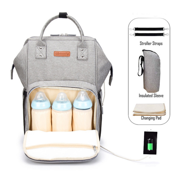 best selling Mother Maternity Diaper Travel Bag waterproof Nappy bags Organizer Tote Mommy Backpacks with Bottle bag & changing Mat & hook & USB C6882
