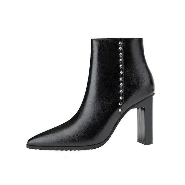 High Heels Ankle Boots For Women Autumn Winter Faux Leather Pointed Toe Ladies Shoes Warm Plush Sexy Black White Martin Boots