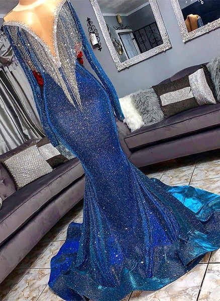 best selling Long Real Image Luxury Prom Dresses Mermaid Sheer Neck Long Sleeves Evening Gowns With Tassels Sweep Train Formal Party Dress BC1367