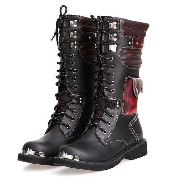 Hommes Bottes Du Combat Moto À De95 Casual De Homme Crâne Punk Xiexiezi Chaussures 89 Bottes Acheter Travail Lacets Mode Automne Gothique Hiver LAj34R5