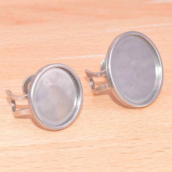 Нержавеющая сталь DIY кольцо настройки 20 мм 25 мм круглое стекло кабошон настройки базы поделки заготовки лицевой панели лотков для изготовления ювелирных колец
