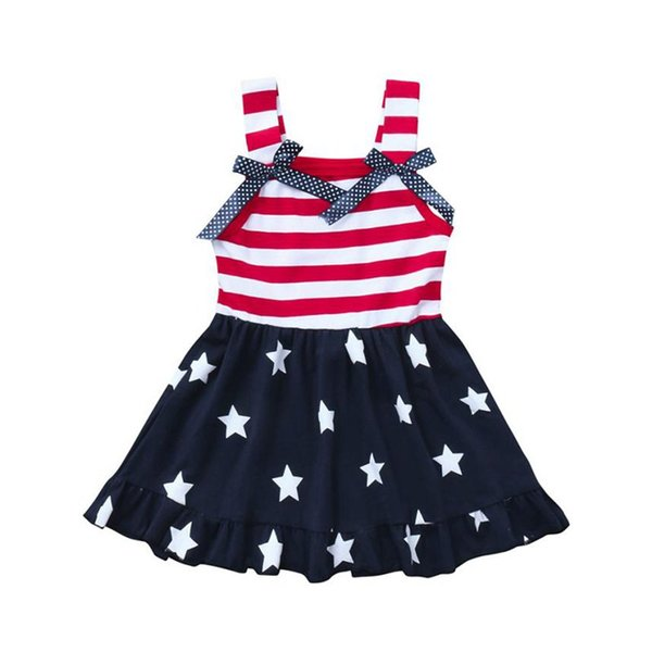 New Style Toddler Baby Girls Star Print 4th Of July Bowknot Straps Dress Striped Clothes High Quality Popular Costumes For Girls