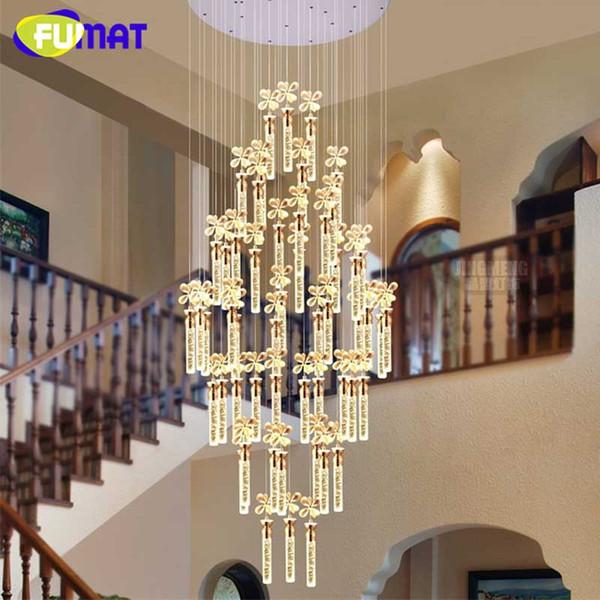 Fumat K9 Кристалл цветок подвесной светильник современный светодиодный арт-мода отель проект лестницы лампа гостиная блеск люстра свет Fixtur