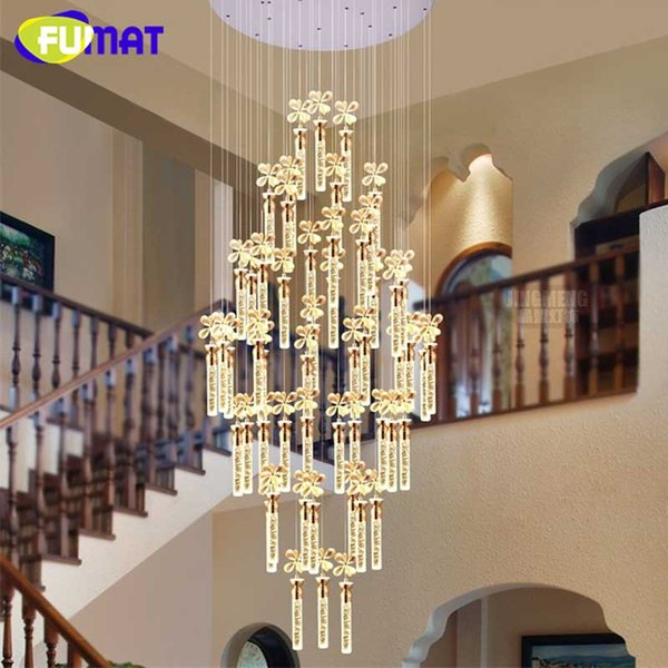 FUMAT K9 Crystal Flower Pendant Lamp Modern LED Art Fashion Hotel Project Stairs Lamp Living Room Lustre Chandelier Light Fixtur
