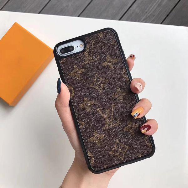 1 pcs moda phone case casos de couro de alta qualidade para iphone x xr xs max 7 8 shell pu marca de couro proteger tampa traseira frete grátis