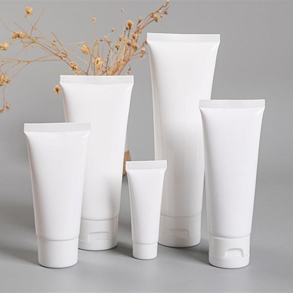Beyaz Plastik Kozmetik Tüp Doldurulabilir Dudak Balsamı Konteyner Deneme Ambalaj Sıkılmış Aşağı Şişe Aşağı El Kremi için Güneş Koruyucu Şampuan