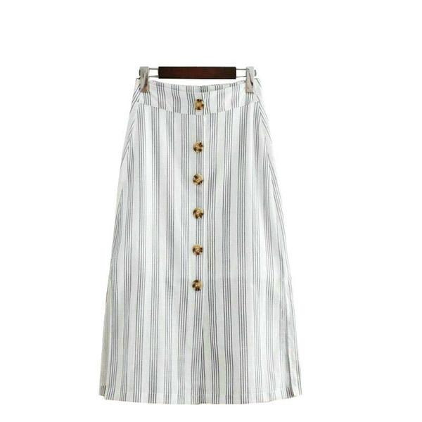2019 gonne midi da donna in cotone di lino con stampa a righe pulsanti gonne da donna laterali aperte moda high street