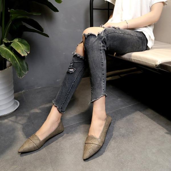 YEELOCA Neue Frühling Koreanische Version Einzelnen Schuhe frauen Spitz Wohnungen Flacher Mund Gitter Komfortable Beanie Schuhe Frauen