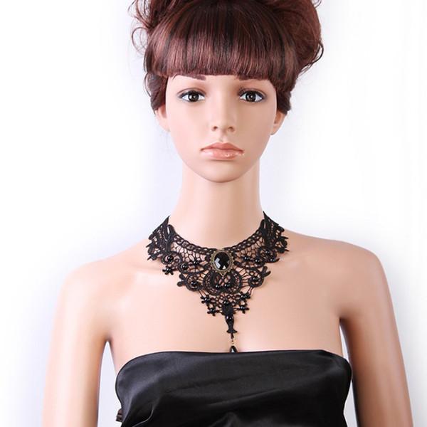 Collier en dentelle noire - Lolita gothique pendentif tour de cou colliers bijoux vêtements accessoires pour mariage anniversaire Hallowen Christmas Custume