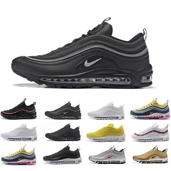 zapatos deportivos cómo hacer pedidos de calidad superior Compre Nike Air Max 97 Airmax 97 Hombres Zapatillas De Deporte Balck  Metallic Gold South Beach PRM Amarillo Triple Blanco 97s Diseñador Mujer  Deportes ...