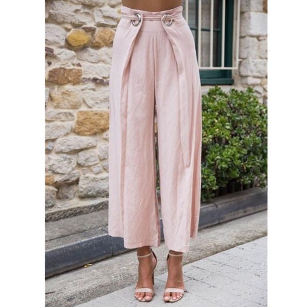 CALOFE Neue PANT FRAUEN MÄDCHEN Einfarbig Plissee Breites Bein Weibliche Sommer Hohe Taille Lange Studenten Koreanische Mode Lässige Hosen
