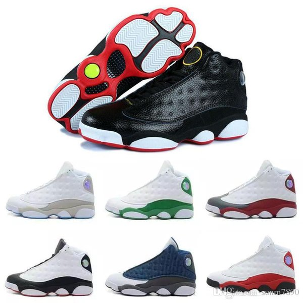 73c97d5fa05 with box high quality New mens 13 Black Cat Basketball Shoes 13s White  women Chicago red