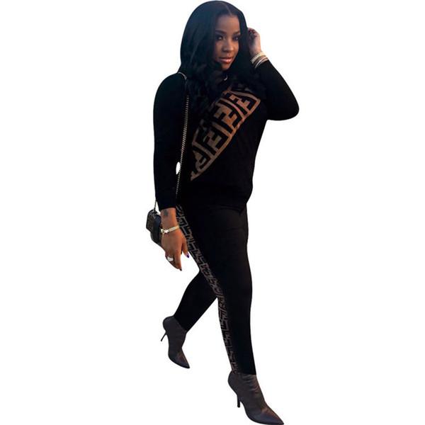 2019 Diseñador de la marca Mujeres Chándales de manga larga Letra F Imprimir Sudaderas con capucha Sudadera Lápiz Pantalones largos 2 unids Conjunto Traje de lujo traje deportivo Nuevo