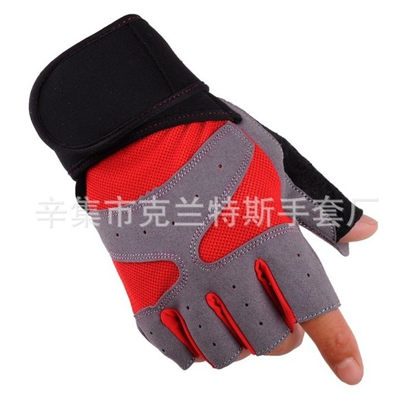2019 Motorcycle Gloves Bodybuilding Half Finger Ventilation Non-slip Weightlifting Protect Hand Training Lengthen Cuff Glove